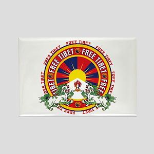 Free Tibet Snow Lions Rectangle Magnet