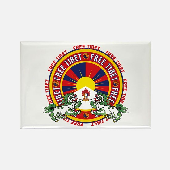 Free Tibet Snow Lions Rectangle Magnet