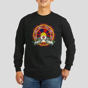 Free Tibet Snow Lions Long Sleeve Dark T-Shirt