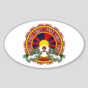 Free Tibet Snow Lions Sticker (Oval)