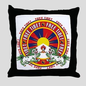 Free Tibet Snow Lions Throw Pillow