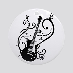 Retro Guitar waves Ornament (Round)