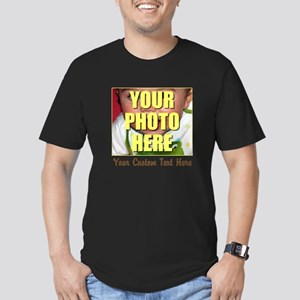 Custom Photo and Text Men's Fitted T-Shirt (dark)