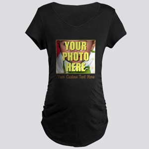 Custom Photo and Text Maternity Dark T-Shirt