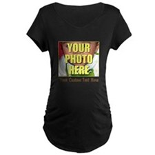 Custom Photo and Text Maternity Dark T-Shirt