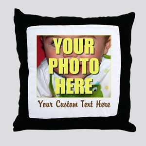 Custom Photo and Text Throw Pillow