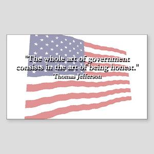 Thomas Jefferson: Honesty Quote Sticker (Rectangul