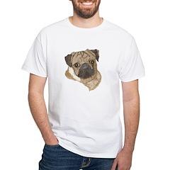 Pug Portrait White T-Shirt