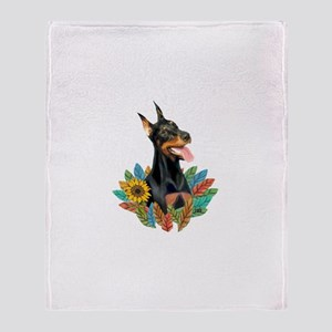 Leaves2-Doberman Pinscher Throw Blanket
