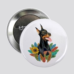 "Leaves2-Doberman Pinscher 2.25"" Button"