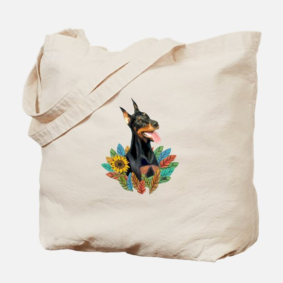 Leaves2-Doberman Pinscher Tote Bag