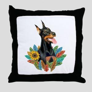 Leaves2-Doberman Pinscher Throw Pillow