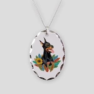 Leaves 2 - Doberman 1 Necklace Oval Charm