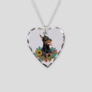Leaves 2 - Doberman 1 Necklace Heart Charm