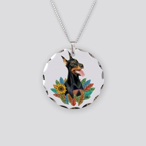 Leaves 2 - Doberman 1 Necklace Circle Charm