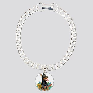 Leaves 2 - Doberman 1 Charm Bracelet, One Charm
