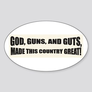 God Guns And Guts Oval Sticker