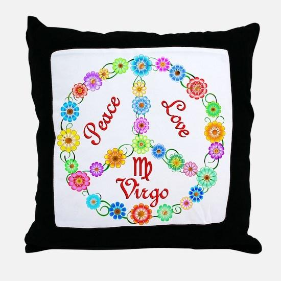 Peace Love Virgo Throw Pillow