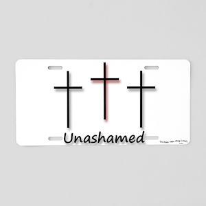 Aluminum License Plate - 3 Crosses Unashamed