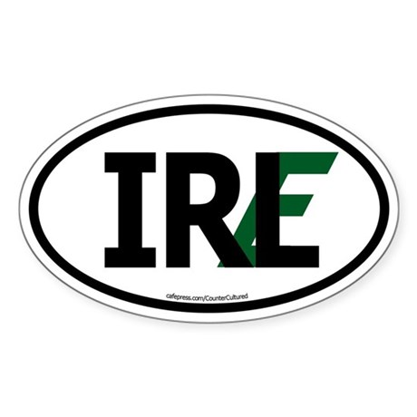 """IRL"" Ireland Euro Flag 1 Oval Sticker"