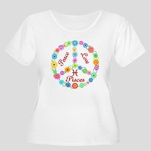 Peace Love Pisces Women's Plus Size Scoop Neck T-S