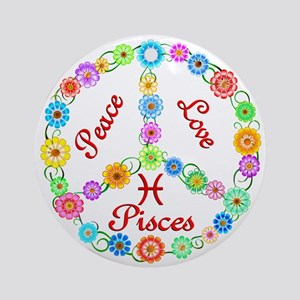 Peace Love Pisces Ornament (Round)