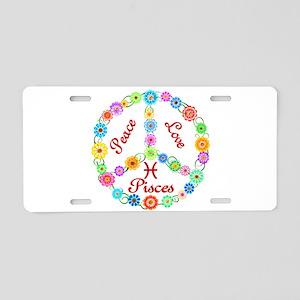 Peace Love Pisces Aluminum License Plate