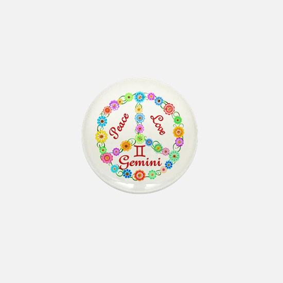 Peace Love Gemini Mini Button