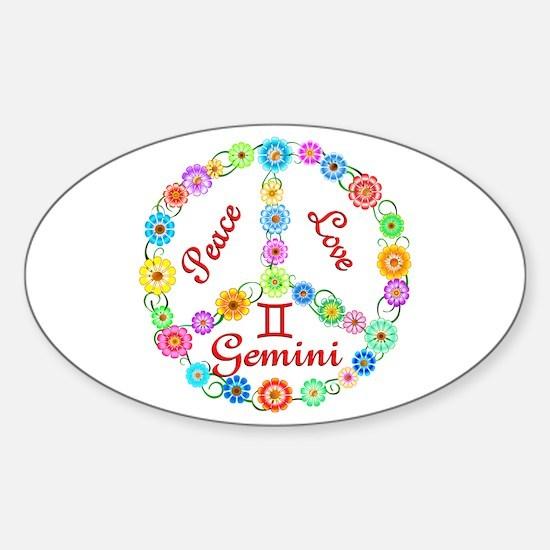Peace Love Gemini Sticker (Oval)