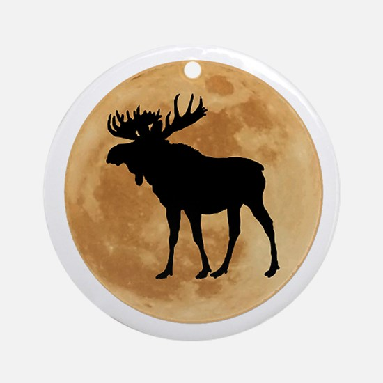 MOOSE MOON Round Ornament