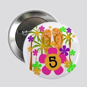 Luau 5th Birthday Button