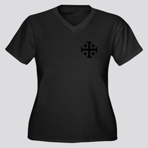 Cross Potent Women's Plus Size V-Neck Dark T-Shirt