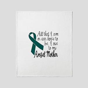 Angel Mother Ovarian Cancer Throw Blanket
