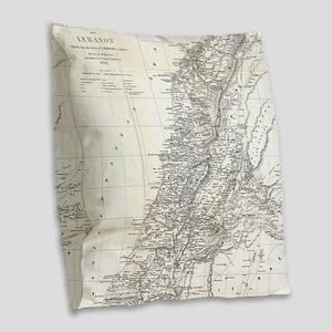 Vintage Map of Lebanon (1856) Burlap Throw Pillow