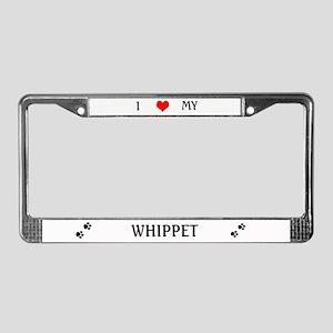 I Love my Whippet License Plate Frame