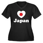 Love Japan Women's Plus Size V-Neck Dark T-Shirt