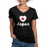 Love Japan Women's V-Neck Dark T-Shirt