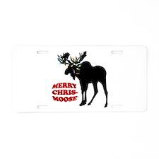 Merry Chrismoose Aluminum License Plate