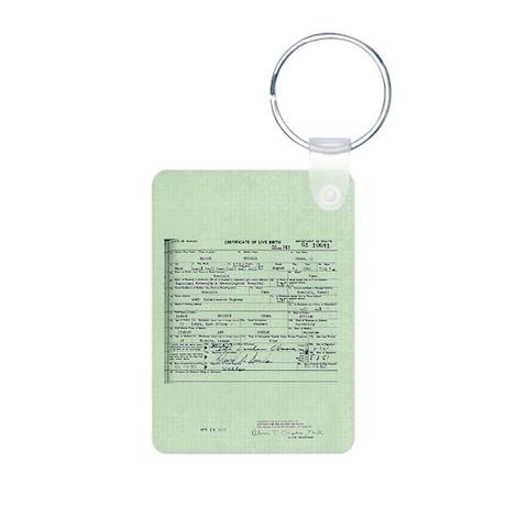 Obama Birth Certificate Aluminum Photo Keychain