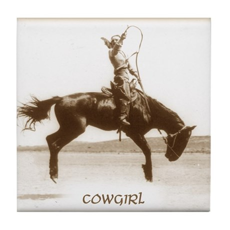 cowgirl (she is SO up!) Tile Coaster