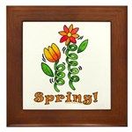 Spring Flowers Framed Tile