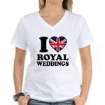 I Love Royal Weddings Women's V-Neck T-Shirt