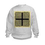 Celtic Square Cross (w/bg) Kids Sweatshirt