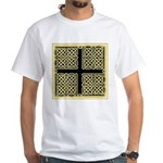 Celtic Square Cross (w/bg) White T-Shirt