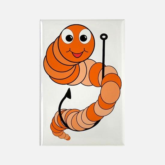 Cute Cartoon Fishing Worm Rectangle Magnet