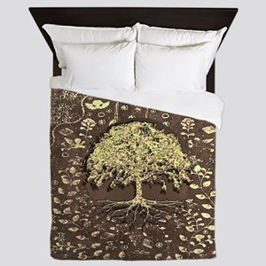 Tree of Life Fall Rustic Vintage Queen Duvet