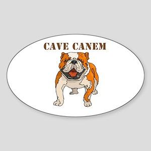Cave Canem (Bulldog) Oval Sticker