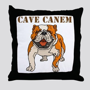 Cave Canem (Bulldog) Throw Pillow