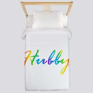 rainbow hubby gay couple Twin Duvet Cover