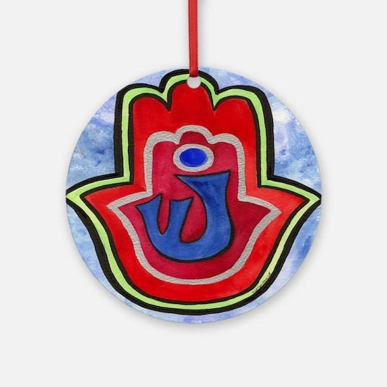 Double Hamsa Shin Ornament (Round)